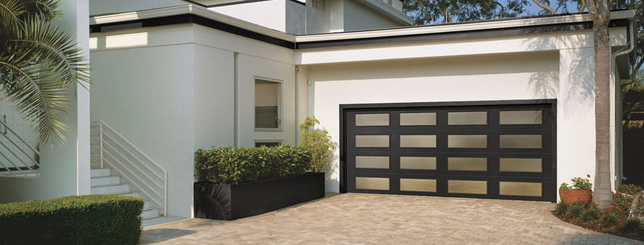 Contemporary Collection Steel Series, Modern Flush Panel; Shown In Black  With Plain Long Windows In All Panel Locations